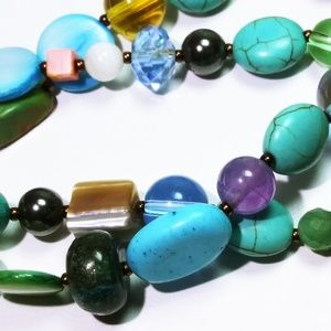 Vintage Jewelry - 2 Vintage Turquoise Jeweled Stretch Bracelets